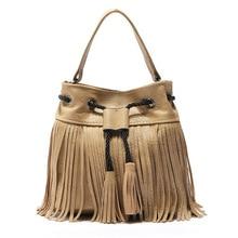 цена на New Leather Drawstring Bucket Bag Bohemia Tassel Hand Bag Boho Chic Indian Hippie Gypsy Tribal Bohemian Sac Ibiza Bucket Bag