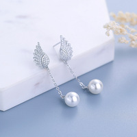 New Fashion Wings of angels 100% 925 Sterling Silver Drop Earrings For Women Pearl With High Quality Cubic Zirconia Earrings