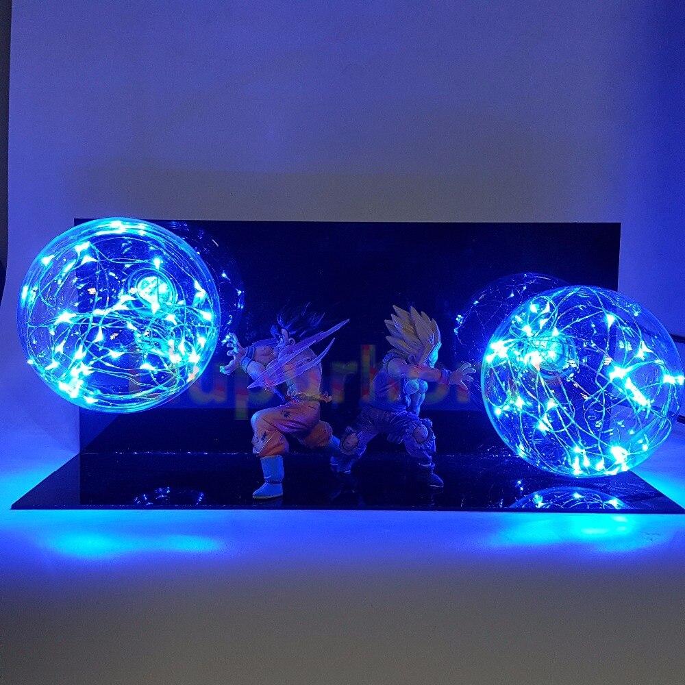 Dragon Ball Z Action Figures Son Goku Gohan Father Son Super Saiyan Led Night Light Lamp Anime Dragon Ball Z DBZ Led Lighting dragon ball z son goku vs vegeta lampara led night light super saiyan anime dragon ball z toy dbz led lighting for christmas