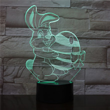 Table Lamp Bedroom Cute Bunny Cartoon Decoration RGB Touch Sensor Children Kids Gadget Gift Easter Rabbit Night Light LED Hare easter gift usb silica led cartoon night light