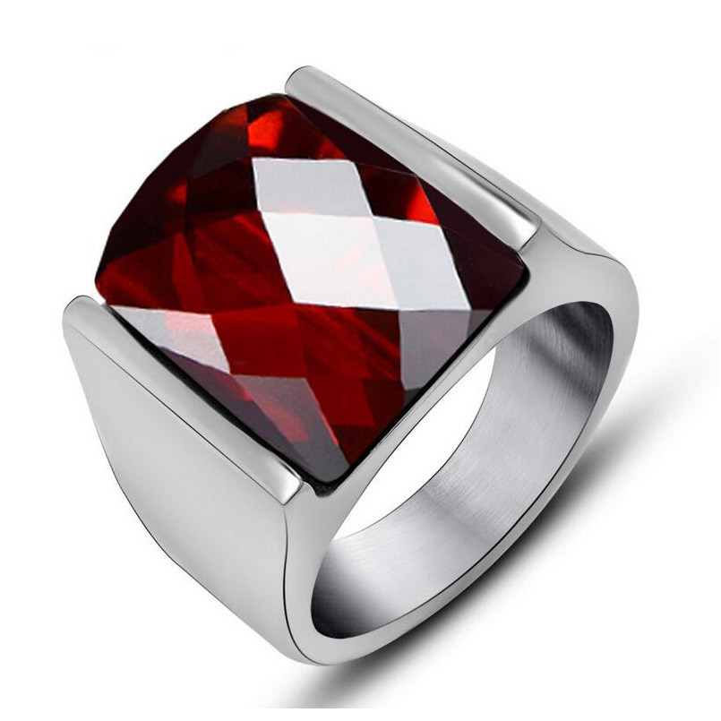 Vintage Top Quality Red Jewelry Rings For Men Never Fade Fashion Stainless Steel Brand Big Crystal Ring Mens