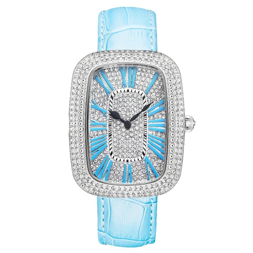 MATISSE модные Австрийские кристаллы Squzre циферблат кожаный ремешок для часов офисная мода для женщин Девушка бизнес леди кварцевые наручные ч... - 3