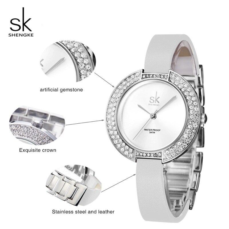 a390c39d5 Shengke Wrist Watch Women Luxury Crystal Ladies Quartz Watch Reloj Mujer  2019 SK Fashion Leather Women Bracelet Watches #K0030L-in Women's Watches  from ...