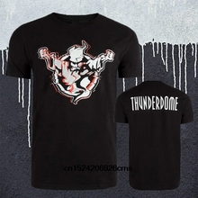 New Fashion Thunderdome Logo Mens T-shirt Hardcore Techno and Gabber 2 Sides Printed Short Sleeve Tee Shirt Black