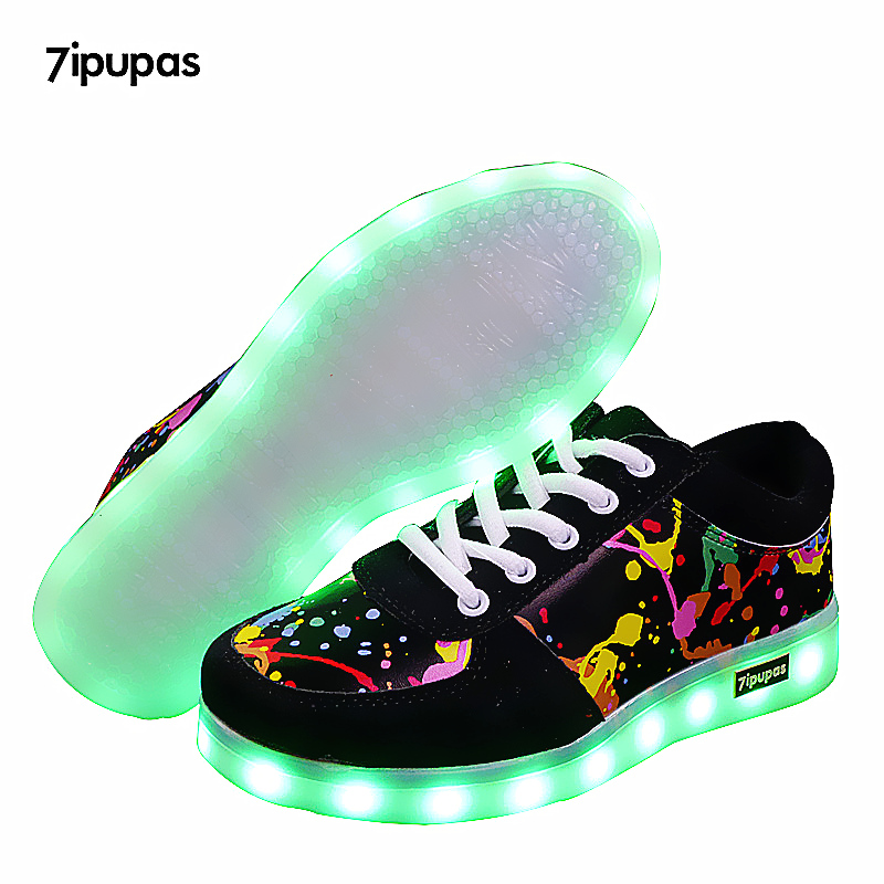 7ipupas New Children Breathable Led Sneakers Fashion Sport Led Usb Luminous Lighted Shoe for Kids Running Boys Casual Girl Flats