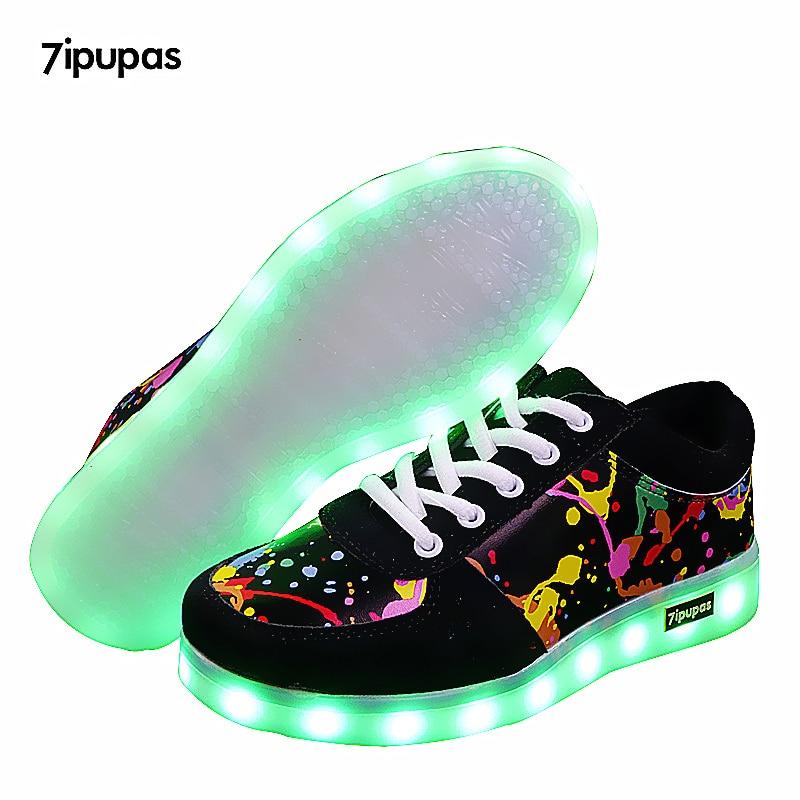7ipupas New Children Breathable Led Sneakers Fashion Sport Led Usb Luminous Lighted Shoe for Kids Running Boys Casual Girl Flats