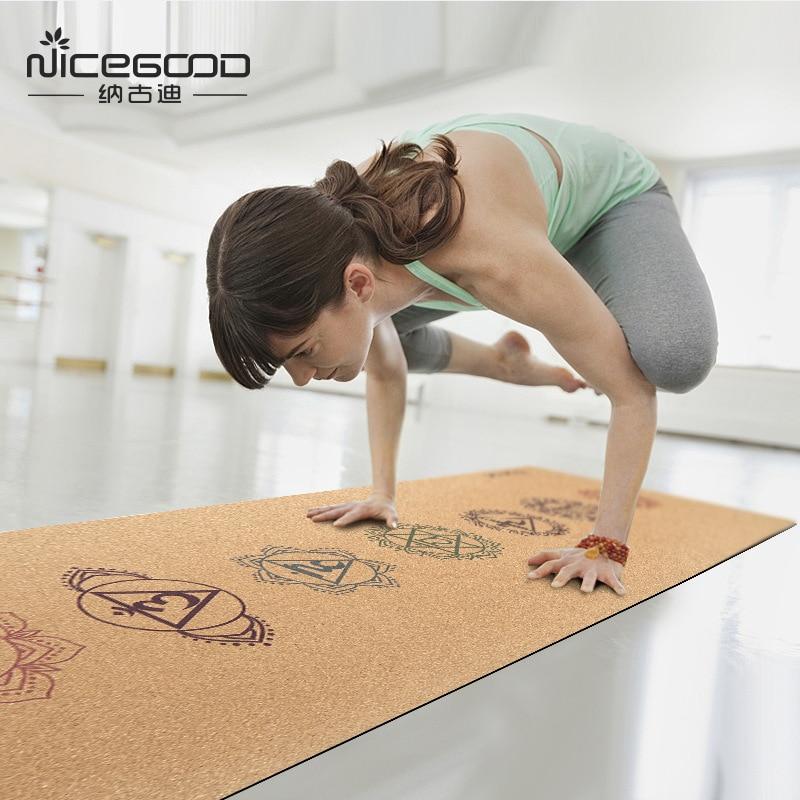 Gym Mats Cork: Cork Yoga Mat Natural Rubber 183cm*61cm*3mm Eco Friendly