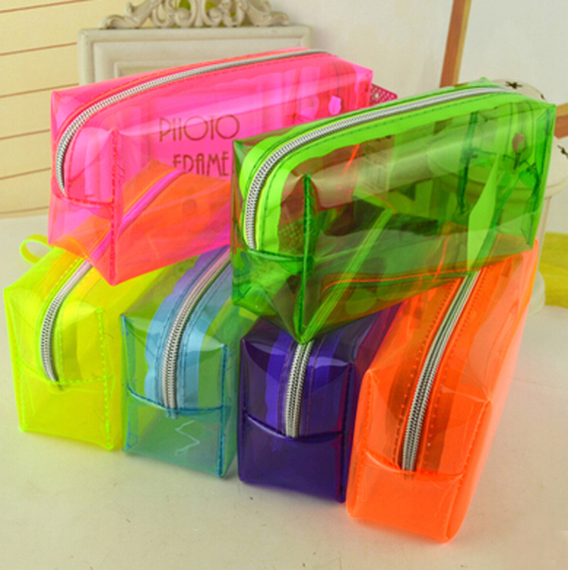 Free Shipping Pencil Bag For School Cute Big Pen Bags Stationery Office Gift Transparent Zipper Bag Birthday Present Business