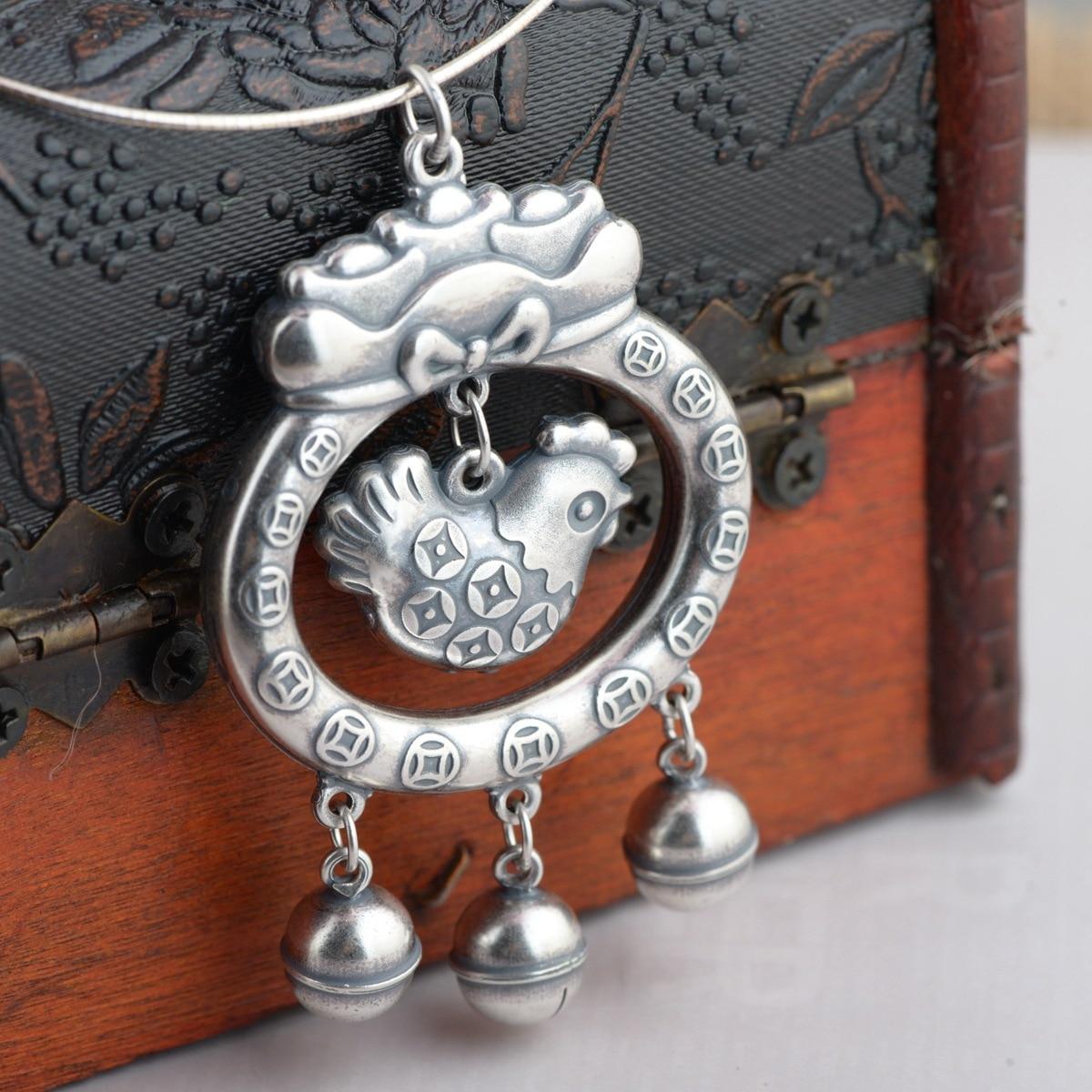 Cerf roi bijoux en gros argent S999 pendentif en argent fin positif style antique serrure