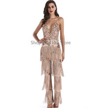 Fashion Sexy Women Tassel Sequins Jumpsuit 2019 V-neck Backless Bodysuit Luxury Club Body Femme Party Long Playsuit Overalls XL(China)
