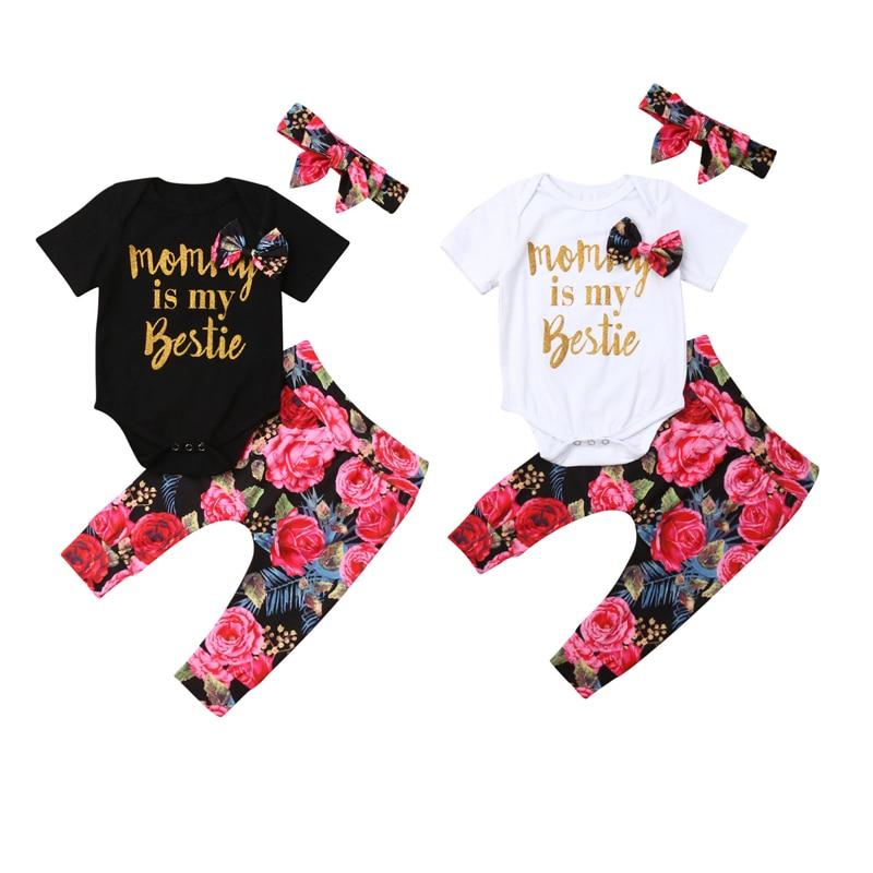 Infant Baby Girl Newborn Cotton Clothes Sets Letter Solid Jumpsuit+Flowers Print Pants+Headband 3pcs Outfit Clothes