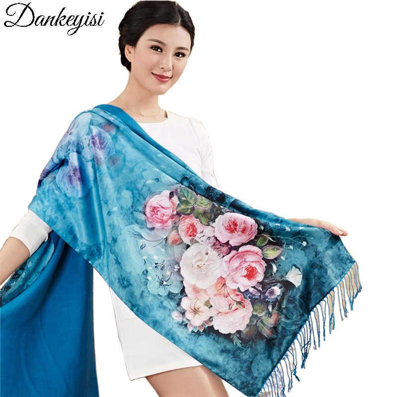DANKEYISI Marke Foulard Femme Hijab Bandana Schal Frauen Lange Quaste Floural Print Schal Winter Schal 100% Silk Schals Weibliche