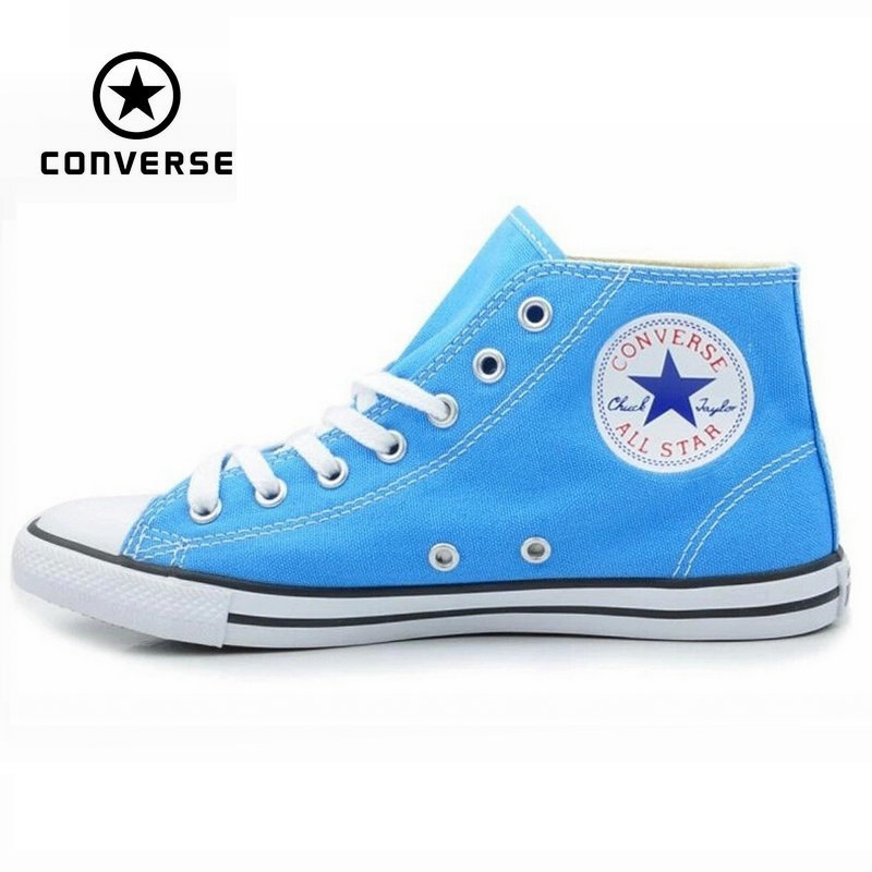 Original Converse All Star sneakers powderblue women high canvas shoes for women Skateboarding Shoes free shipping original converse all star women sneakers flower color light popular summer canvas skateboarding shoes 552923c