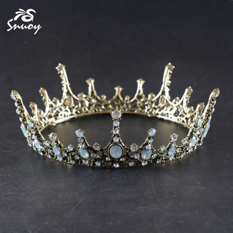 Snuoy Wedding Hair Accessories Vintage Medieval King Crown For Men Rhinestone Full Round Queen Diadem for Women