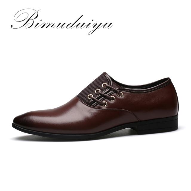 BIMUDUIYU Big Size 6.5-12 New Fashion Men Wedding Dress Shoes Black Shoes Round Toe Flat Business British Lace-up Men's shoes