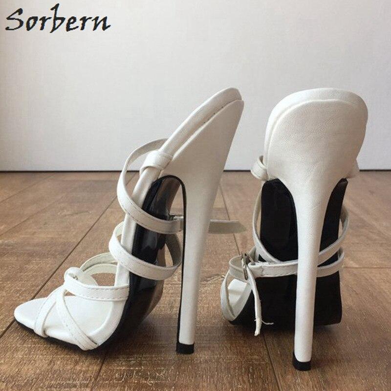 Sorbern Sexy Branco Slingbacks Sandálias Mulheres Cruz Amarrada Sapatos Espiga Sapatos De Salto Alto Sapatos Da Moda Tamanho Sapatos Sandálias Estiletes 12 - 4