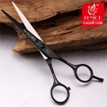 New design salon shears 6inch Hair cutting straight scissors 6inch surface teflon black