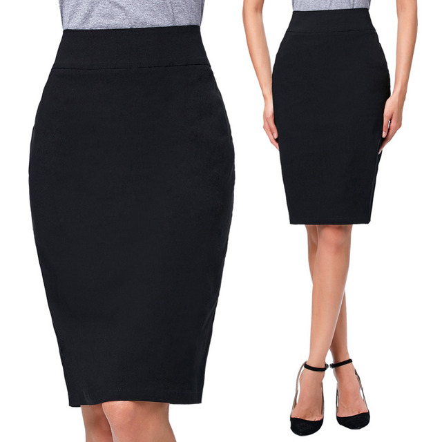 Nova Moda Lápis Saias Das Mulheres Saia de Cintura Alta Preta Do Escritório senhoras Midi Saia Apertada 2016 calças Na Altura Do Joelho Midi Escritório de Negócios saia