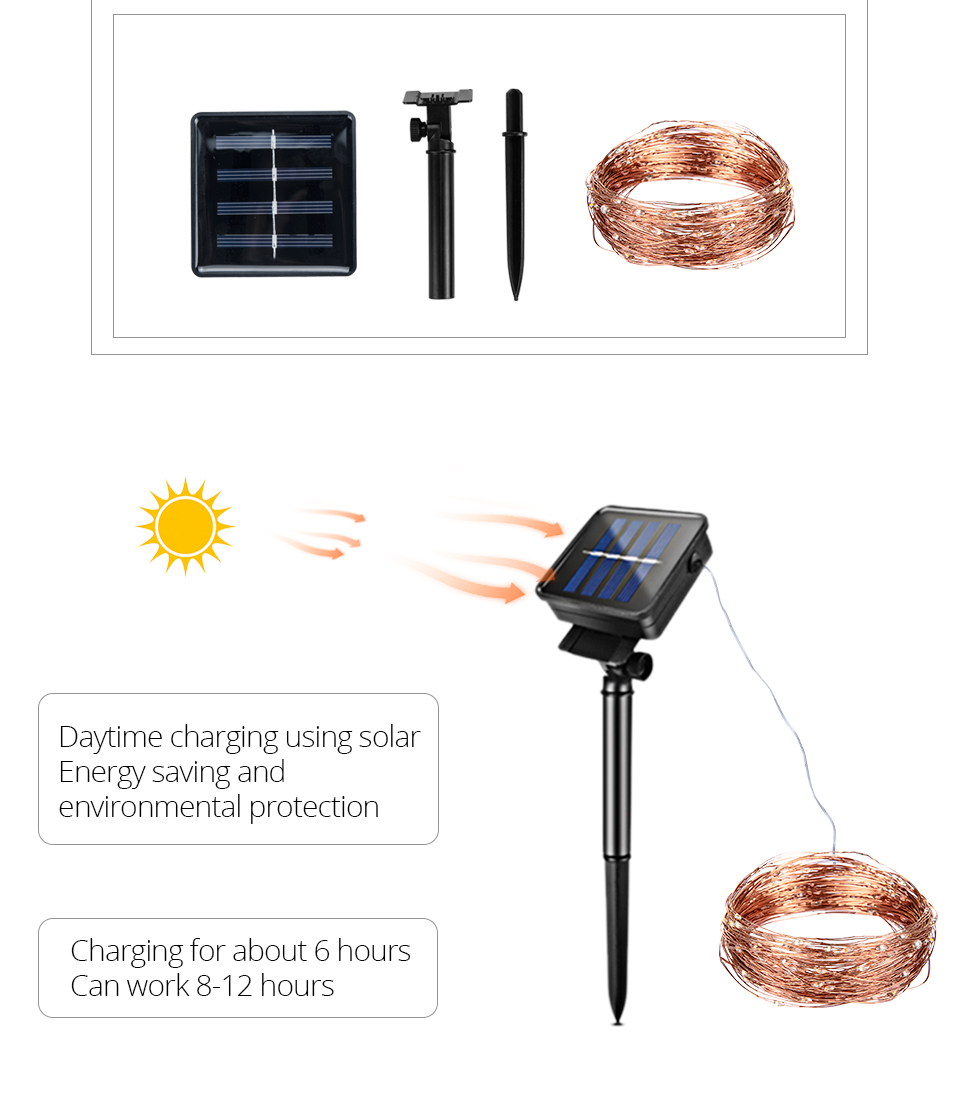 10M 20M Solar Power LED Garland Christmas Tree Fairy String Lights Chain Copper Wire Home Outdoor Christmas Holiday Decoration (5)