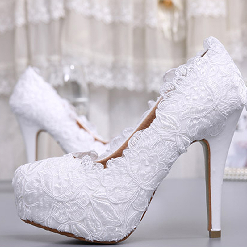 Fashion White Lace High Heel Wedding Bridal Shoes Bridesmaid Dress Elegant Party Embellished Prom Lady Dancing In Women S Pumps From