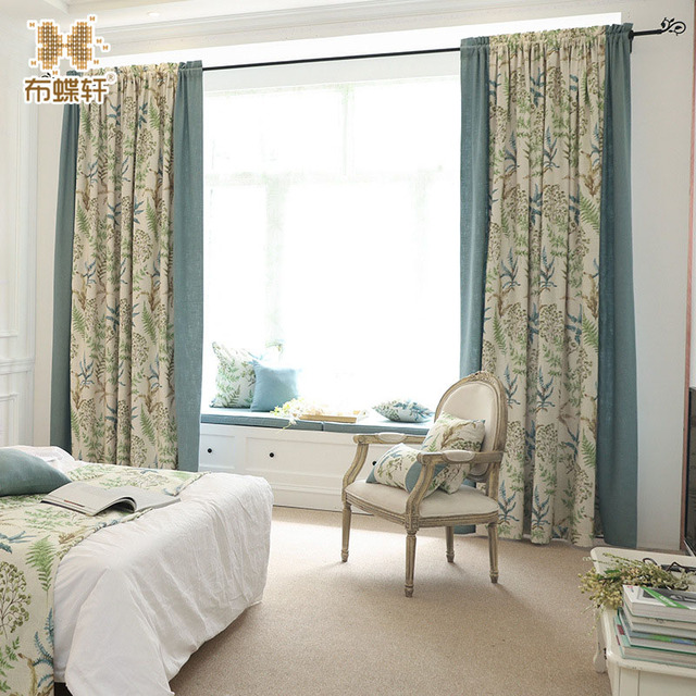 Bedroom Curtains Solid Color and Floral Fabric Stitching Window ...