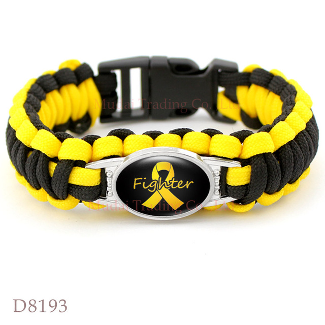 10 Pcs Lot Yellow Awareness Hope Ribbon Paracord Bracelet Fighter Bladder Liver Cancer