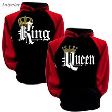 2018 Crown Print Long Clothing New King Queen Couple Letter  Hooded Laipelar