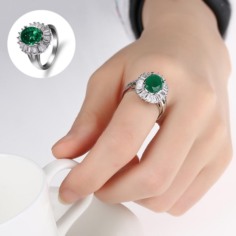 1 Pc Luxus Silber Überzogene Grüne Stein Kristall Finger Ringe Vintage Ovale Ring Österreichischen Kristall Band Ringe Frauen Schmuck Phantasie Farben