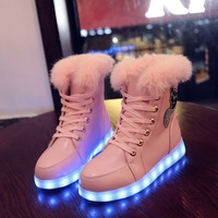 2017 Girl Luminous Sneakers Led Women Winter Fox Diamonds Warm Fur Shoes Winter Autumn Led Luminous Shoes with Lights