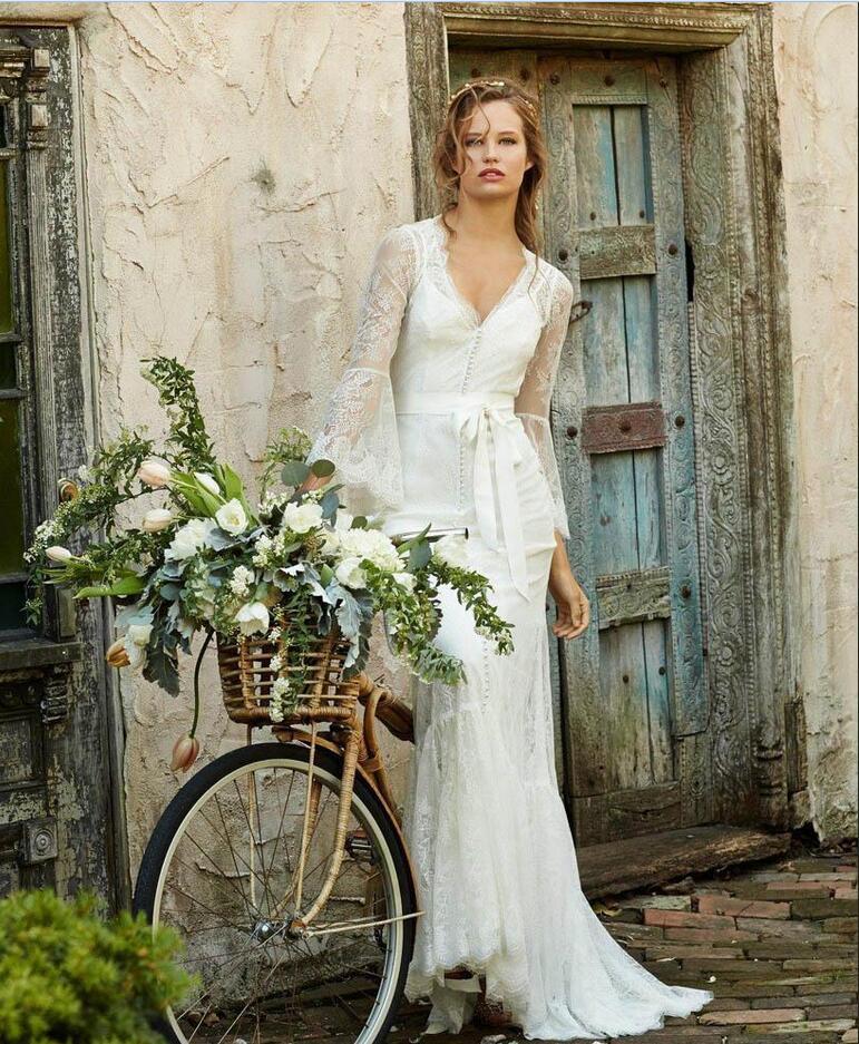 Simple Modest Wedding Dress 2015 Sweetheart Low Back: 2015 Lace Beach Bohemian Wedding Dresses V Neck Backless