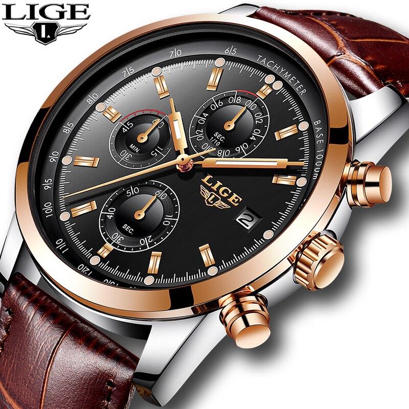 2018 New LIGE Quartz Watch Men Top Brand Luxury Casual Watches Leather Men s Military Sport