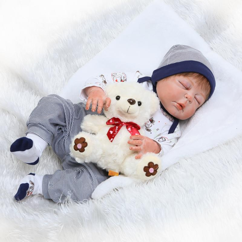 57cm lifelike Full Body Silicone Reborns boy Sleeping Dolls with bear plush toy 22 Inch Baby Bath Toys for Girls Gift Brinquedos57cm lifelike Full Body Silicone Reborns boy Sleeping Dolls with bear plush toy 22 Inch Baby Bath Toys for Girls Gift Brinquedos