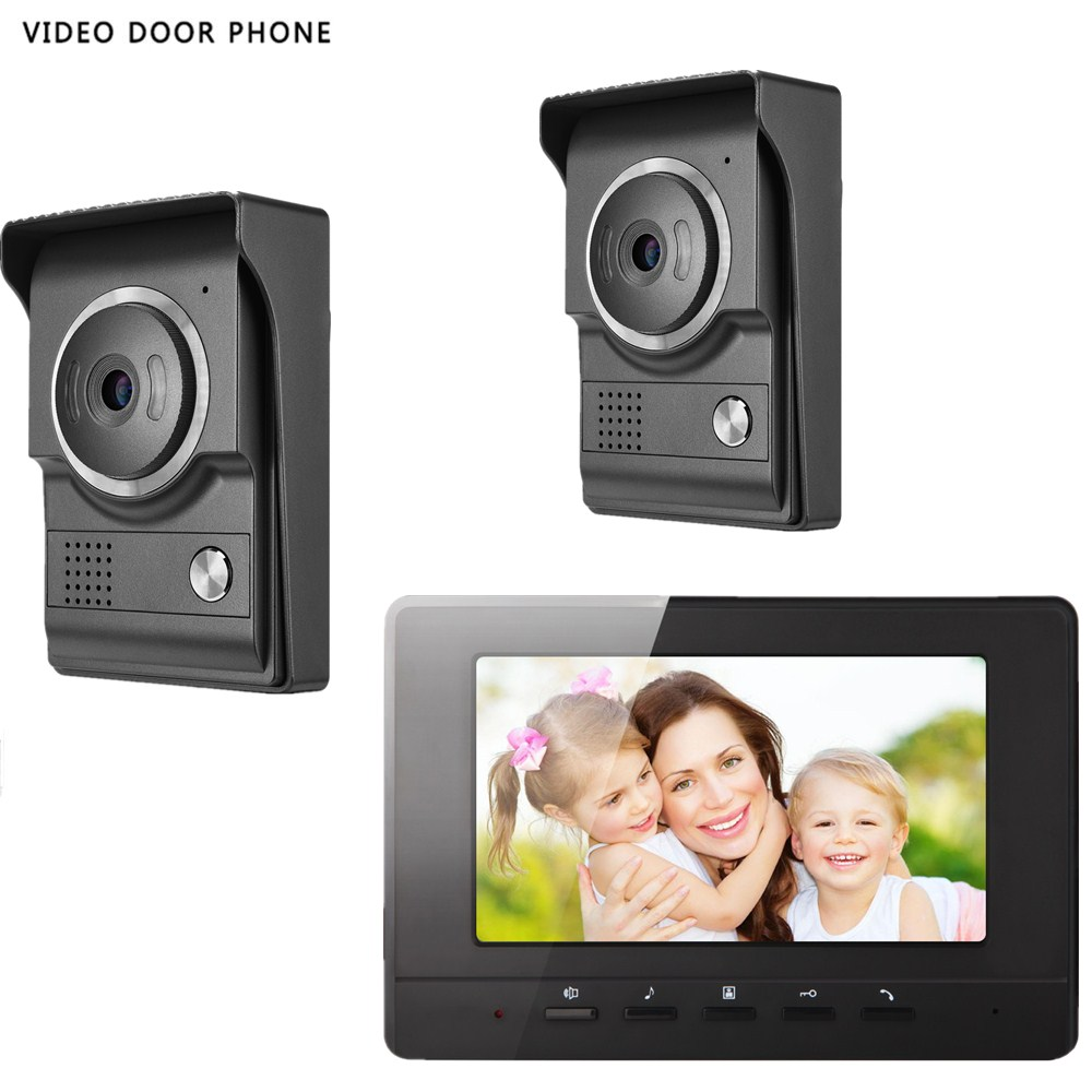 video door phone intercom system 7inch tft lcd screen night vision two outdoor camera ONE monitor video door phone for villa