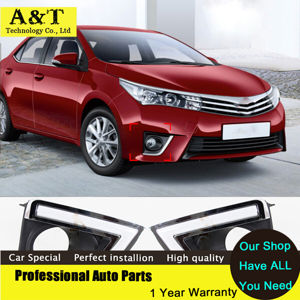A&T car styling New 12v Daytime Running Light for Toyota Corolla 2014 2015 LED DRL With Turn Signal Fog Lamp Hole Super Bright C
