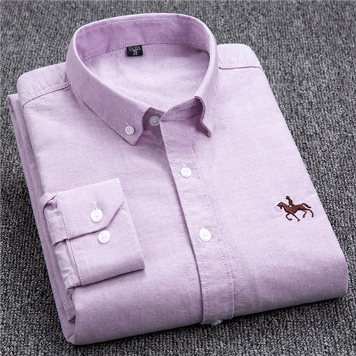 S-6XL Plus size New  OXFORD FABRIC 100% COTTON excellent comfortable slim fit button collar business men casual shirts tops 17