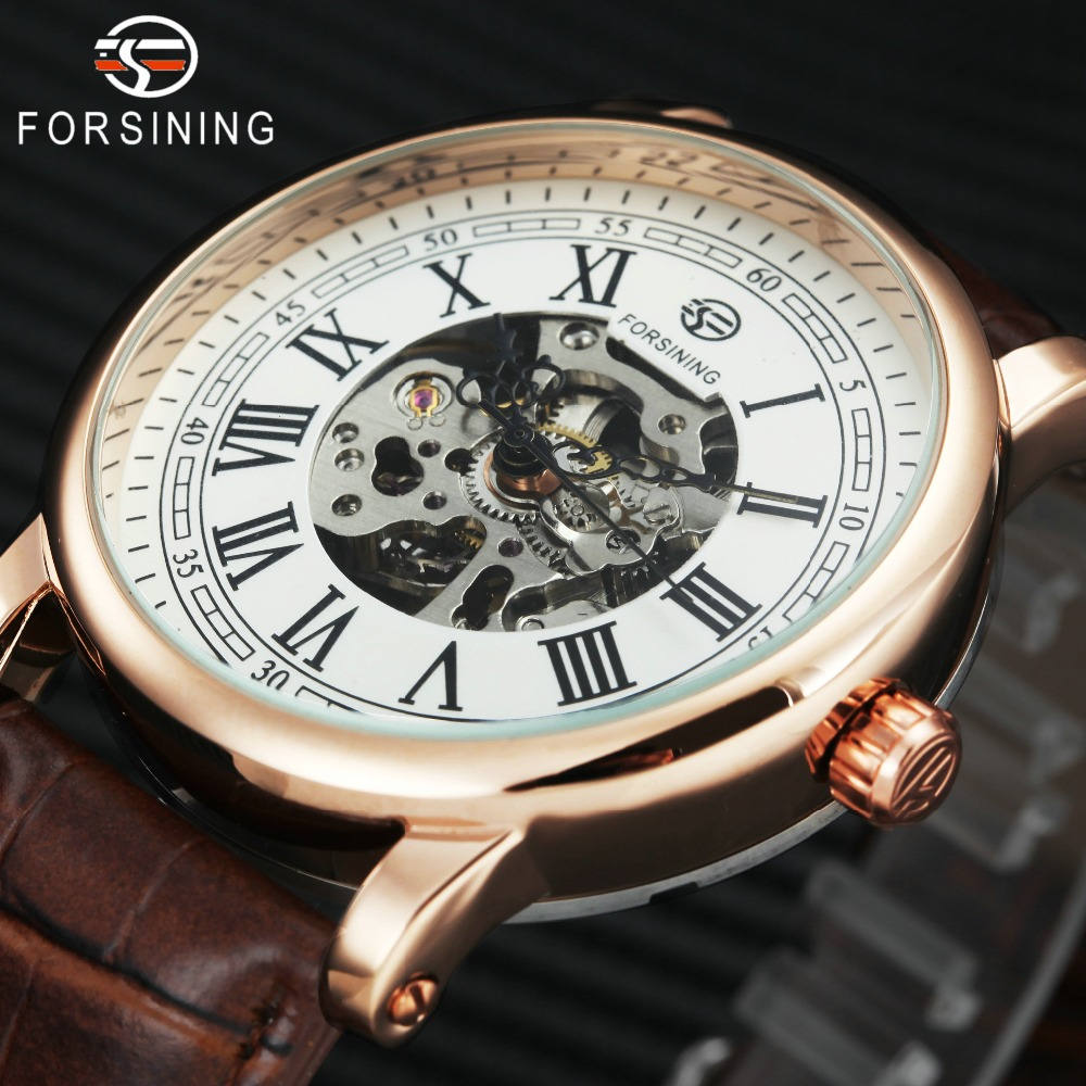 2018 Fashion Business Men Mechanical Wrist Watches Soft Leather Strap New Male Skeleton Automatic Watches Roman Numerals + BOX