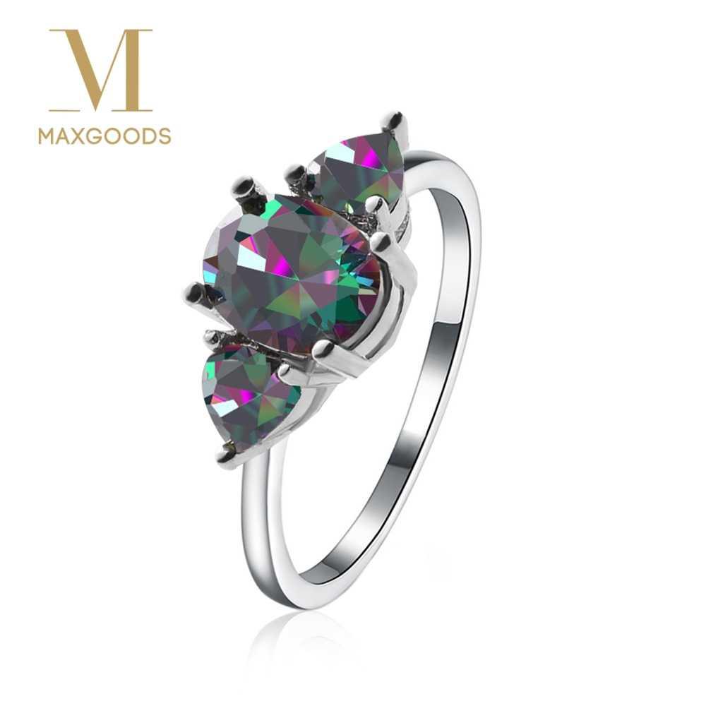 1 предмет, модные роскошные овальным вырезом Мистический Огонь Радуга Topazs обручальное свадебное кольцо, ювелирное изделие в подарок для Для женщин