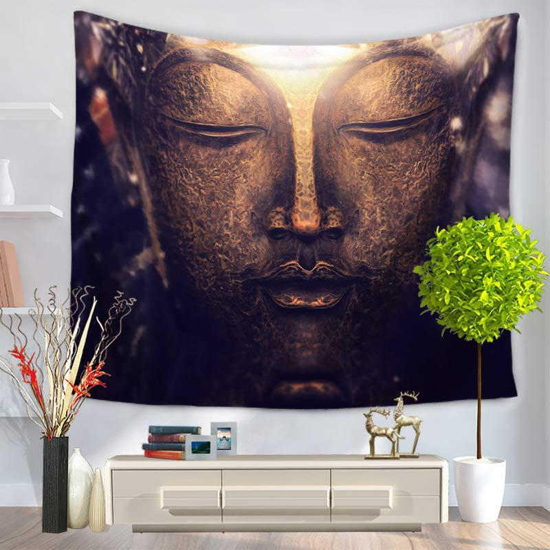 Tapiz de Mandala indio figura de Buda impreso tapiz colgante de pared alfombra de playa Hippie colcha manta de Yoga