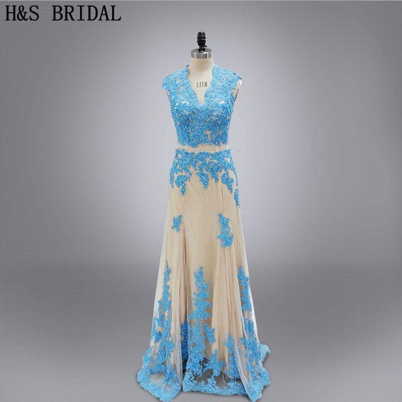 Real photos vestido de festa 2016 custom made designer style two piece wedding party   dress   lace appliques   bridesmaids     dresses