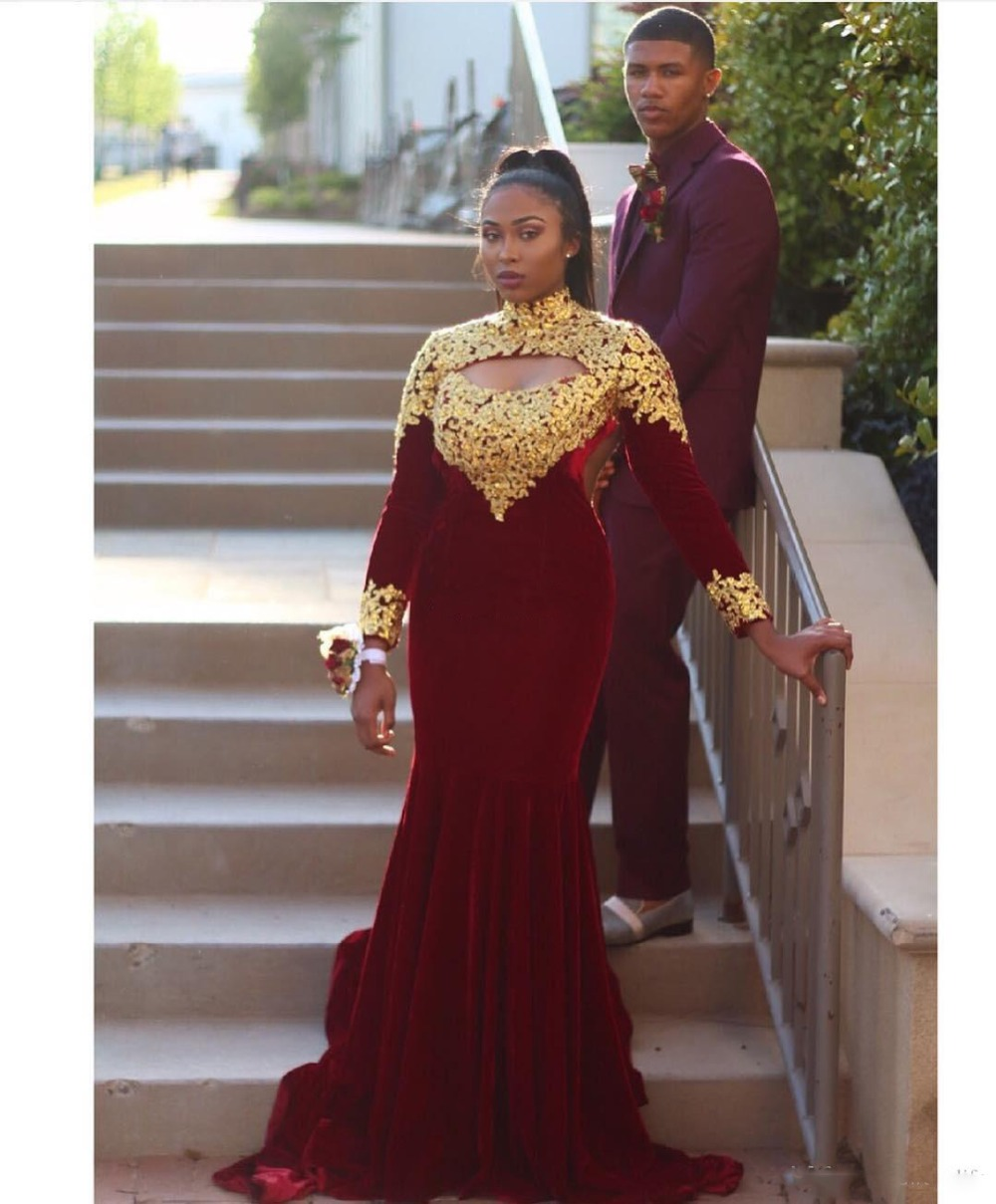 Burgundy Long Sleeve Evening Dresses High Neck With Gold Lace Open