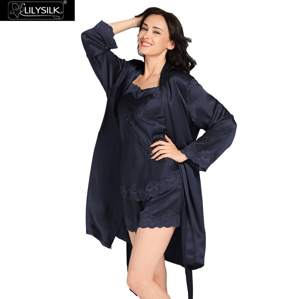Lilysilk Camisole Robe Set 100% Real Silk Nightwear Shorts Women 22 Momme  Lace Lingerie Luxury Solid Pure Short Sleepwear cac854470