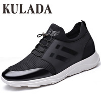 KULADA Men Casual Shoes Men Sneakers Increased Shoes Loafers Fly Knit Breathable Men Student Shoes Spring&Autumn