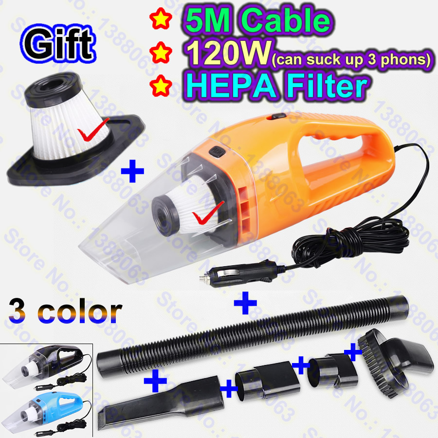 (Gift an Extra HEPA Filter) 2017 NEW 12V Portable Car Vacuum Cleaner Wet and Dry Dual Use Super Suction 5M 120W Vaccum Cleaner