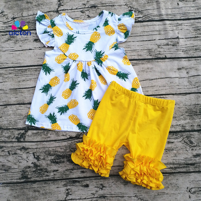 AICTON New arrival style pineapple printed baby pearl tunic tops with ruffle short outfits and different pattern baby pearl sets handpainted pineapple and fern printed pillow case