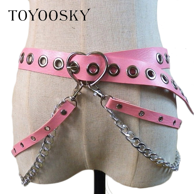 Women Gothic Punk Heart Shape   Belt   for Women Street Fashion Rock Hip-hop with Two Chain Waist   Belts   Ins Second Cowskin TOYOOSKY
