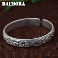 BALMORA 990 Pure Silver Flower Open Bangles For Women Mother Gift About 18cm Retro Bracelet Jewelry