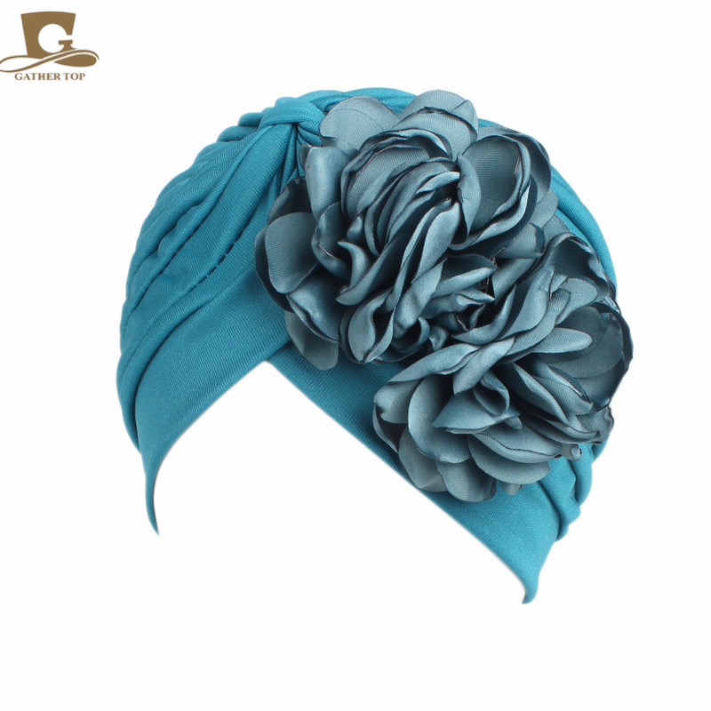 New Vintage Double Flower Beanie Turban Style Hat Women Headbands Turbante Hair Accessories