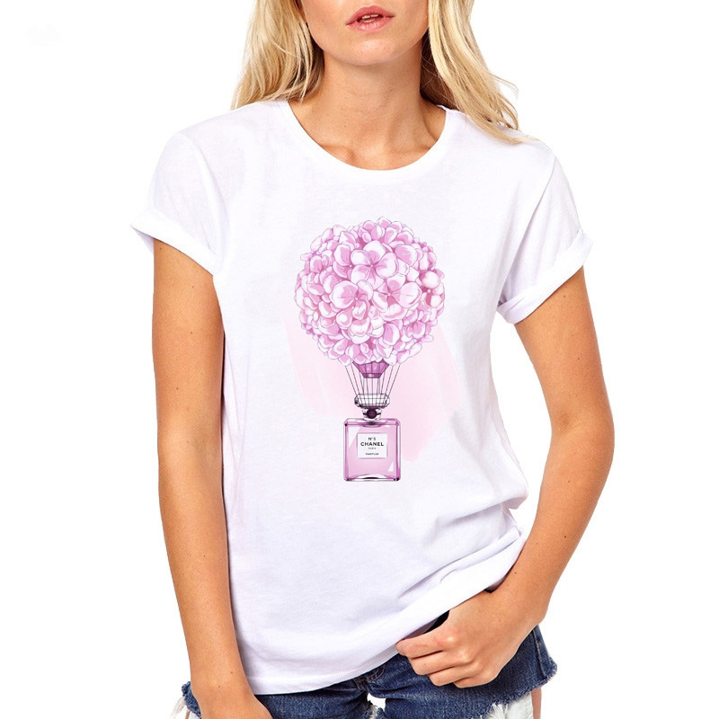 Summer female   T  -  shirt   fashion Casual Tees Flower Perfume Print For Lady Clothing   T     Shirt