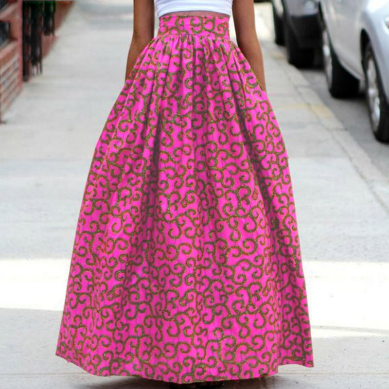 2017 women African Dashiki elastic Autumn winter summer Maxi beach skirt Floral print Hi ...