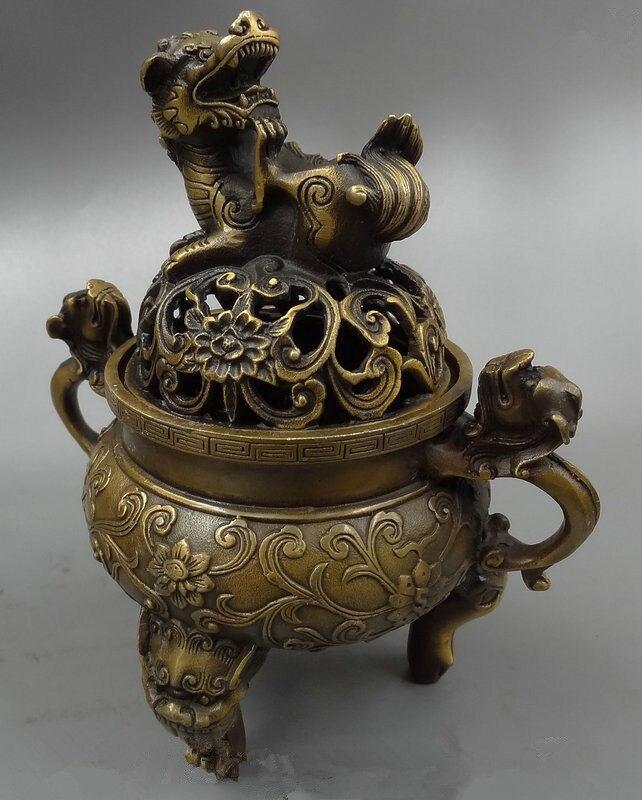 7 polegada/Exquisite Chinês budista dragão leão oca-out incensário de cobre